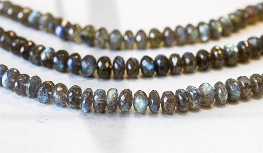 123-1991 Labradorite 9mm Faceted Rondell