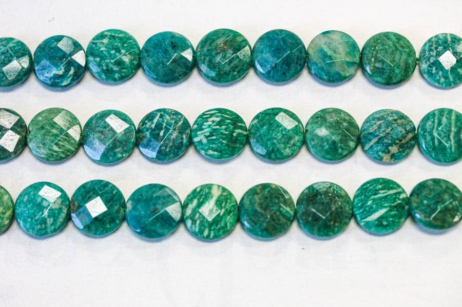305-1037 Russian Amazonite 15mm Faceted Coin
